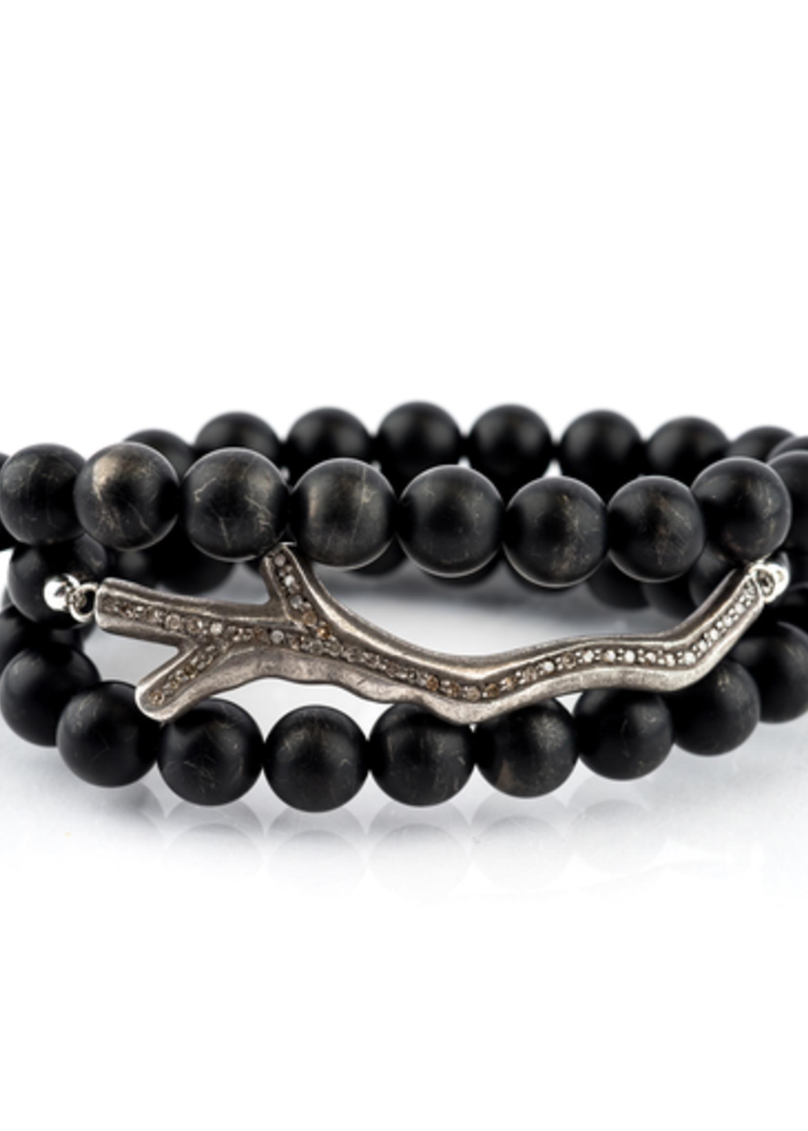 Mina Danielle Black Onyx Wrap with Oxidized Diamond Branch