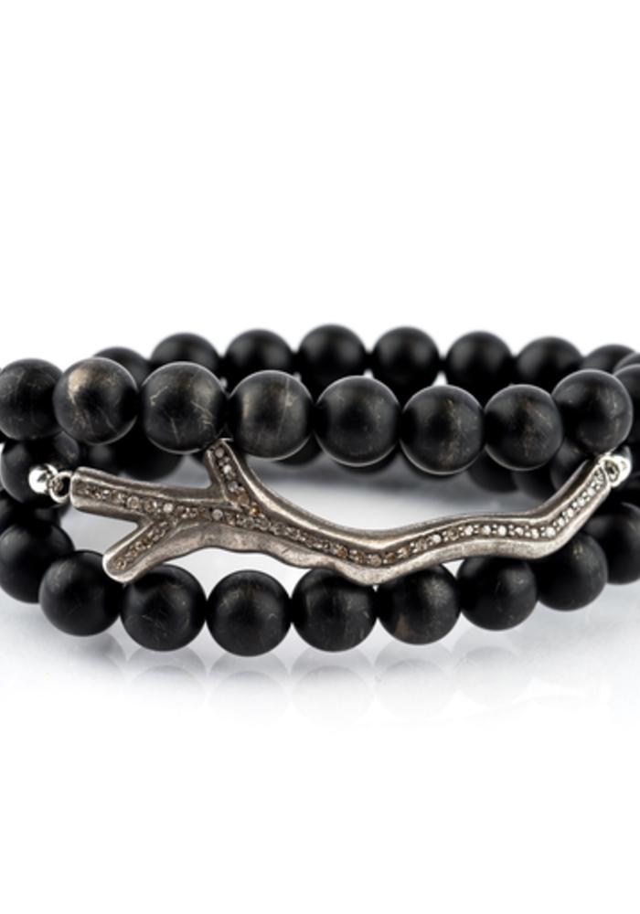 Black Onyx Wrap with Oxidized Diamond Branch