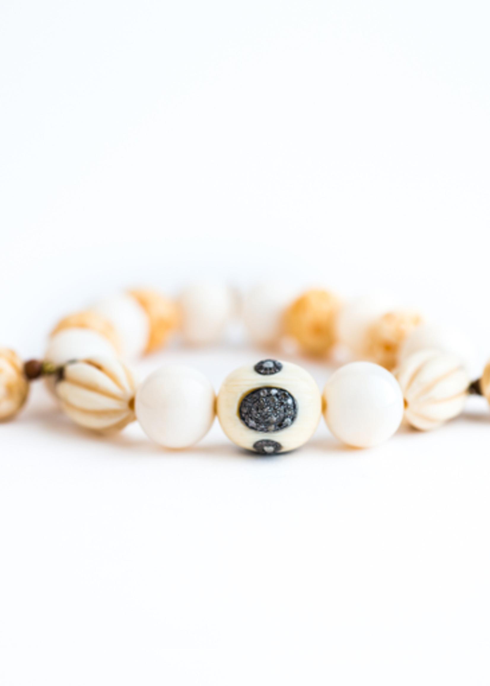 Mina Danielle Bone and Diamond Nugget Beaded Bracelet