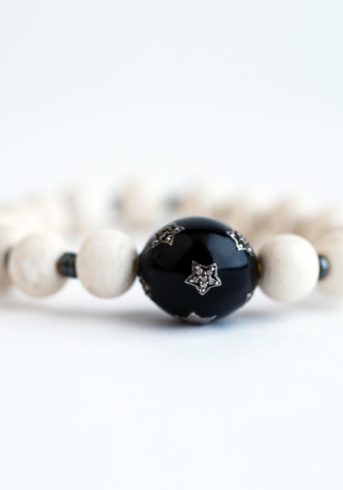 Bone with Black Enamel & Diamond Star Bead