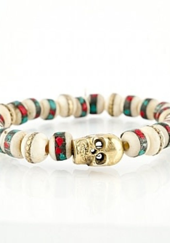 Coral and Turquoise Inlaid Beads with Gold Tibetan Beads