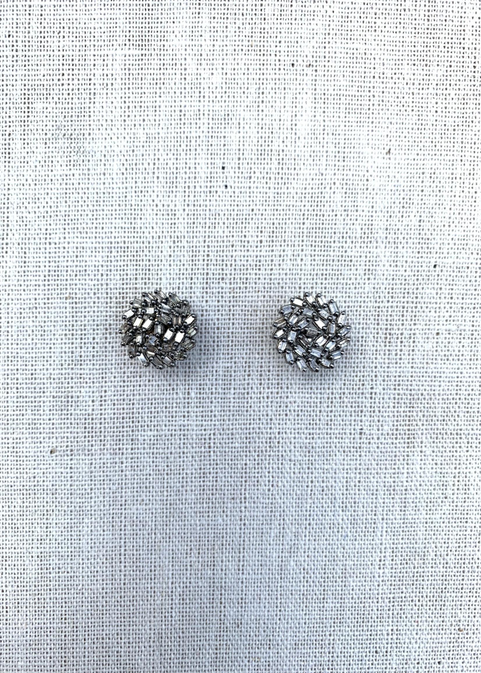 Mina Danielle Diamond Sapphire Cut Round Earrings
