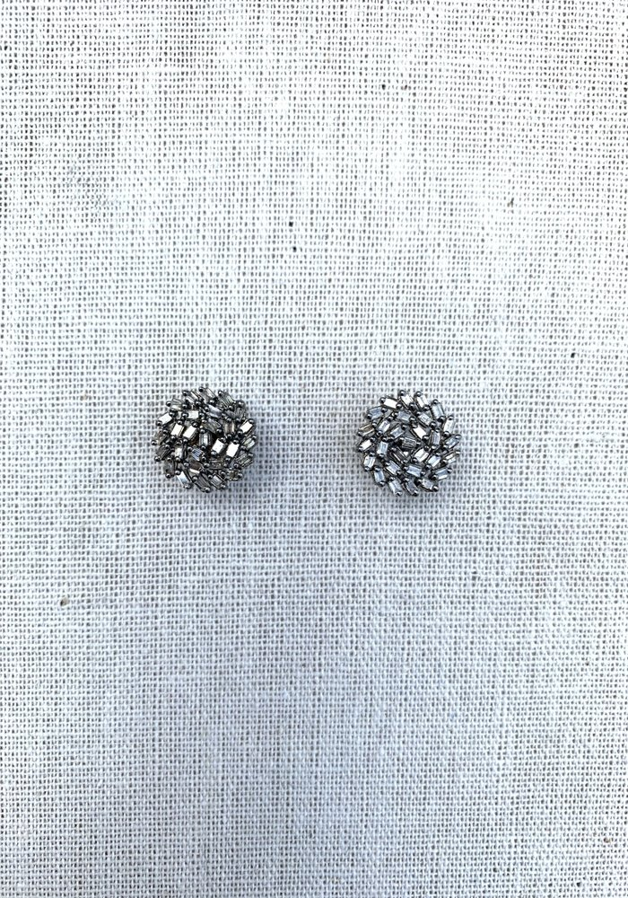 Diamond Sapphire Cut Round Earrings