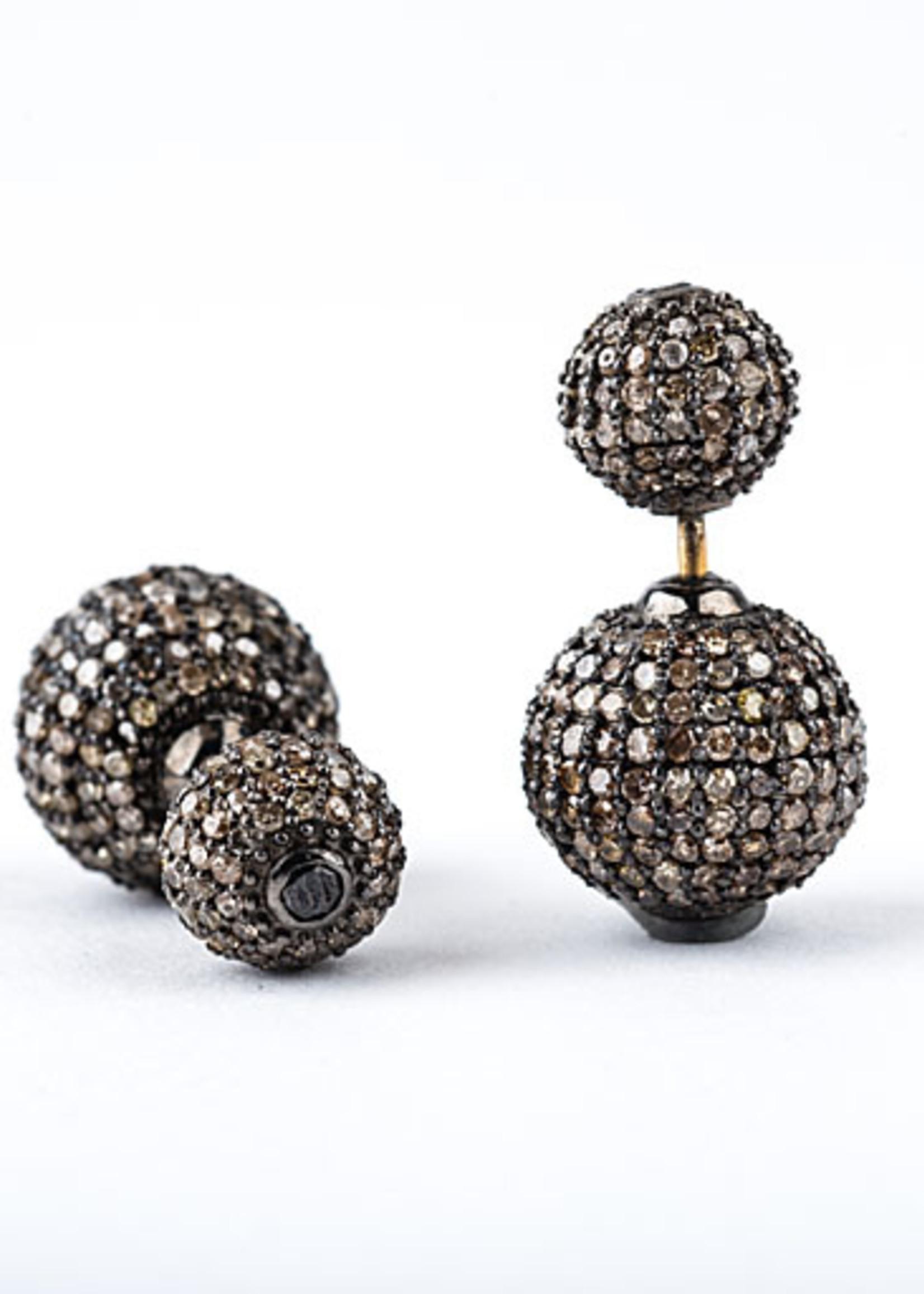 Mina Danielle Double Pavé Diamond Ball Earrings
