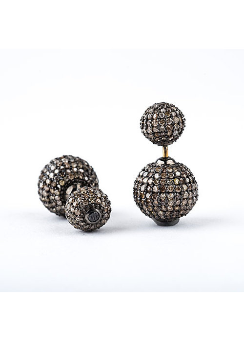 Mina Danielle Double Pavé Diamond Ball Earrings