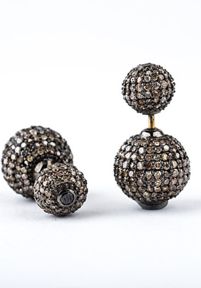 Double Pavé Diamond Ball Earrings
