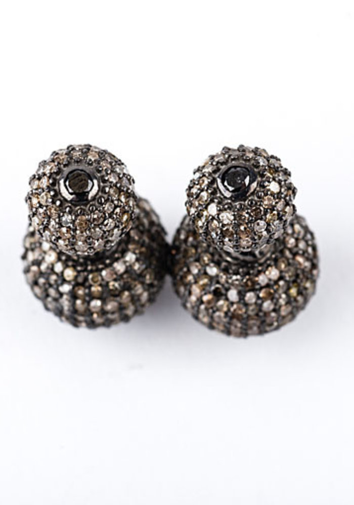Double Pavé Diamond Ball Earrings