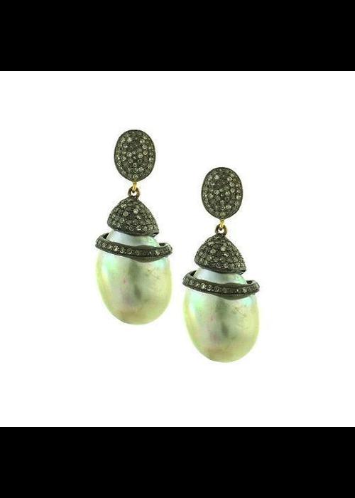 Mina Danielle Pavé Diamond Baroque Pearl Earrings