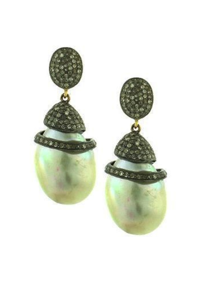 Pavé Diamond Baroque Pearl Earrings