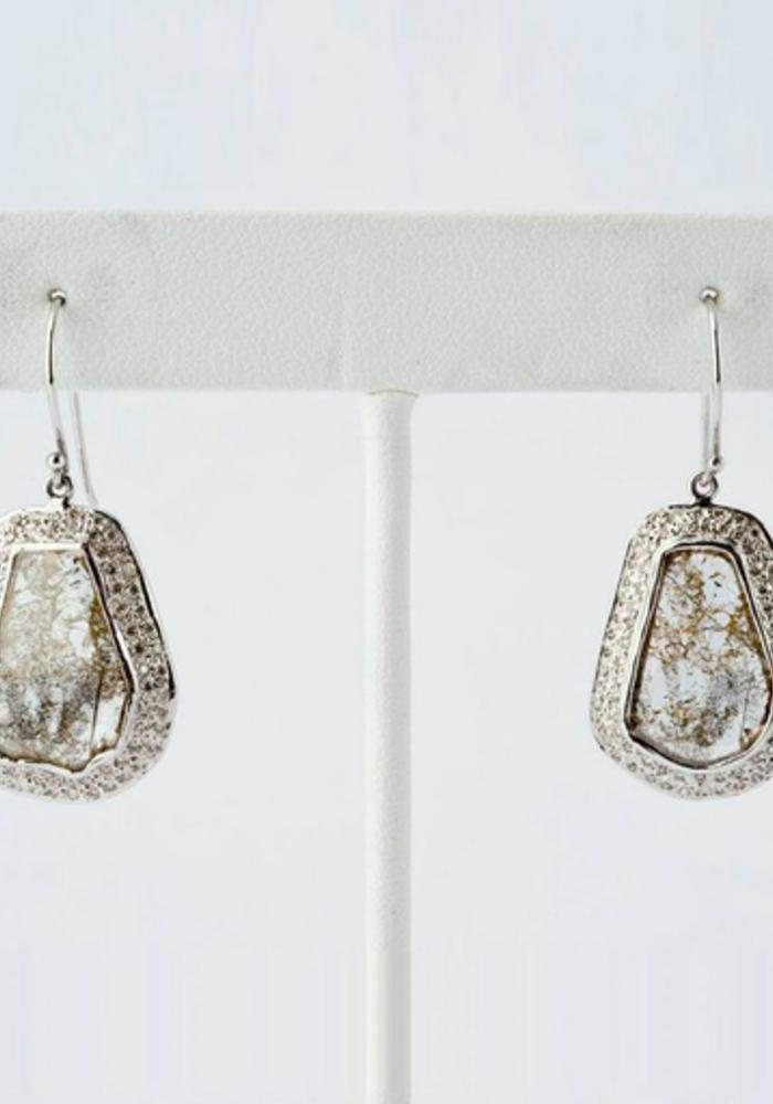Slice White Diamond Earrings
