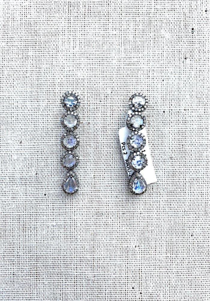 Moonstone and Diamond 5 Drop earrings