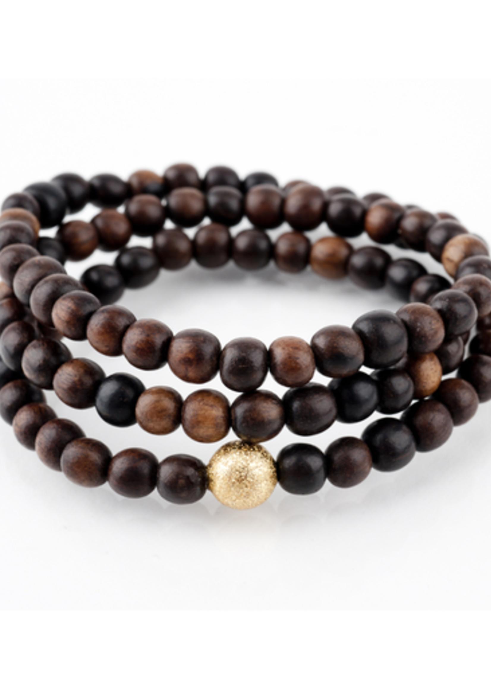 Mina Danielle Brown Wood Wrap Bracelet with Gold Stardust