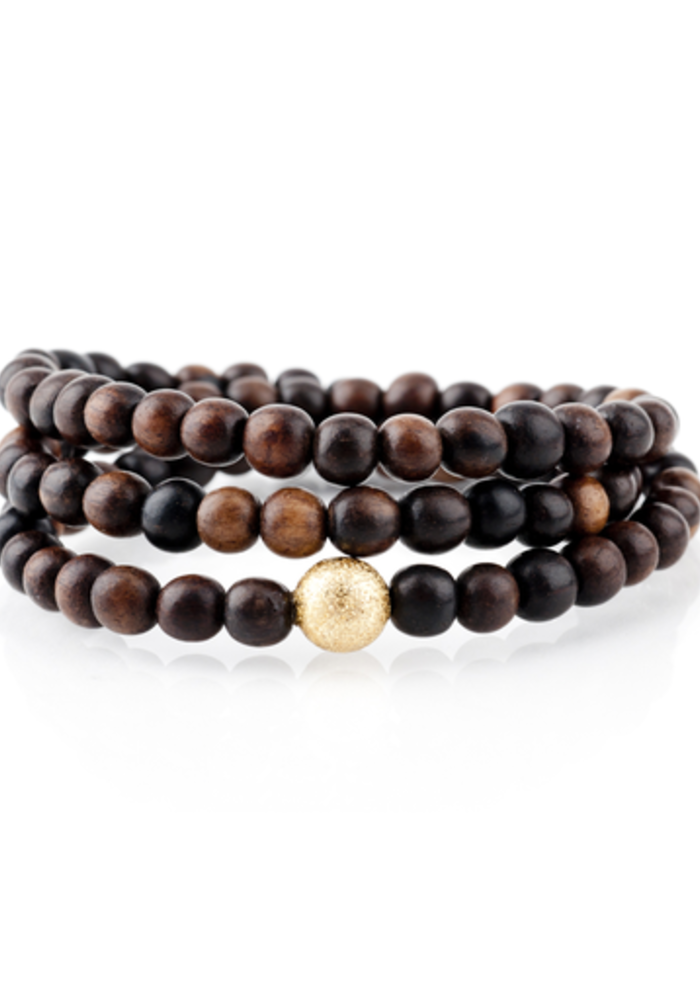 Brown Wood Wrap Bracelet with Gold Stardust