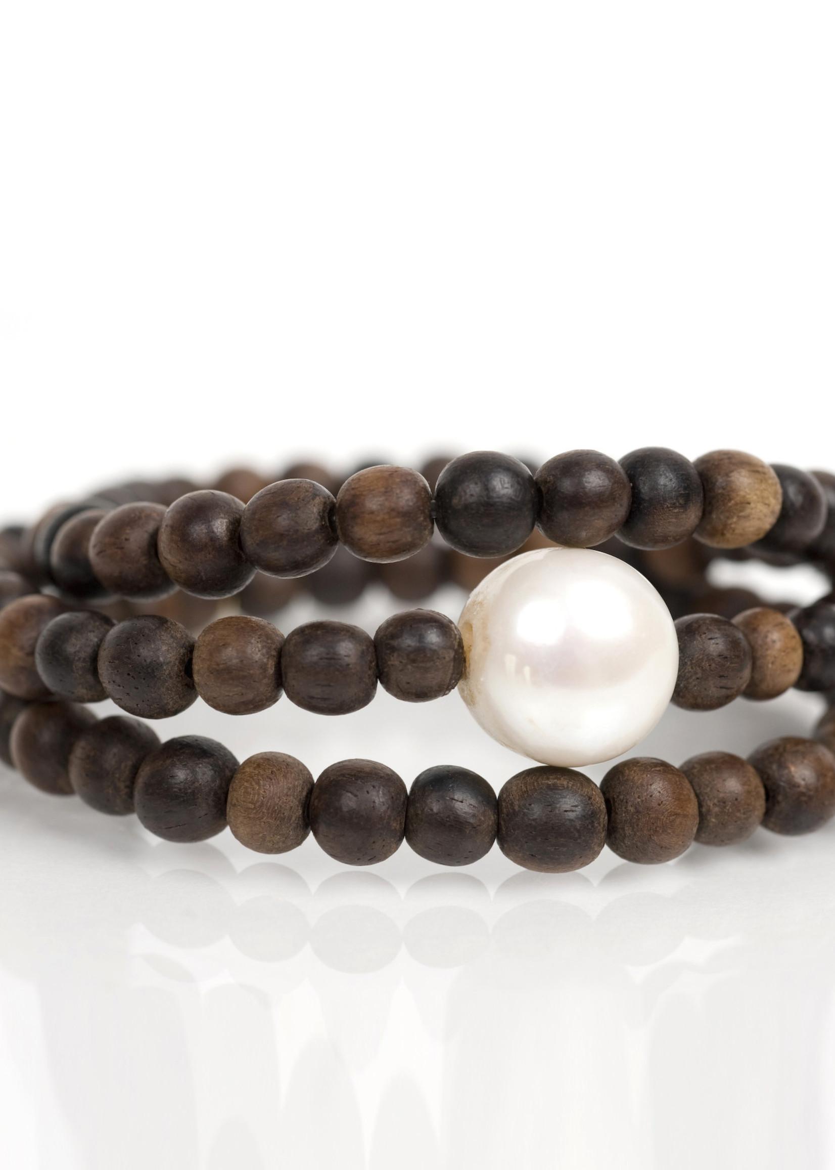 Mina Danielle Brown Wood Wrap with Fresh Water Pearl