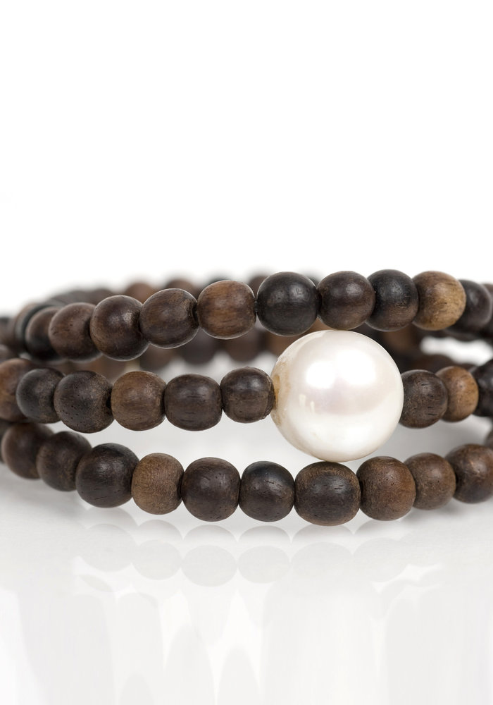 Brown Wood Wrap with Fresh Water Pearl