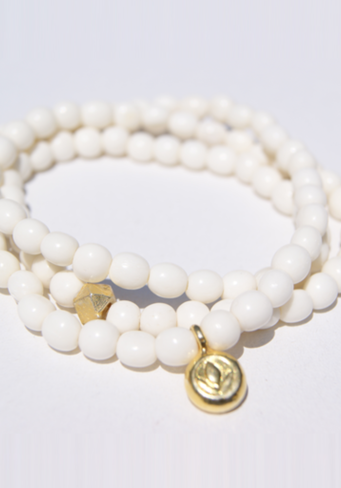 White Bone Wrap with Gold Lotus Charm and Stardust Bead