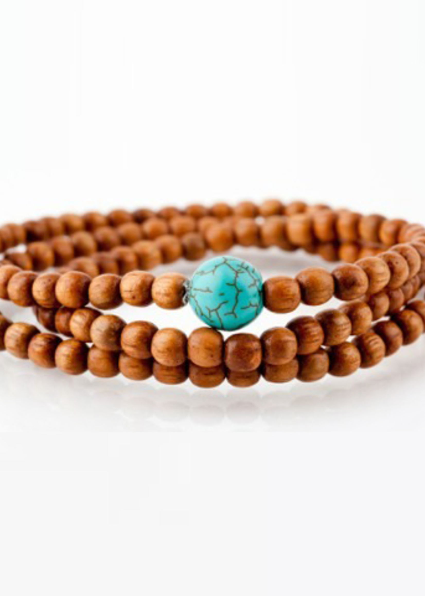 Mina Danielle Light Brown Wrap with Turquoise Bead