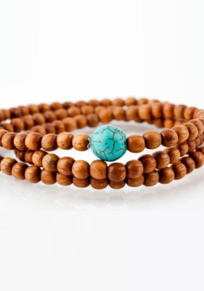 Light Brown Wrap with Turquoise Bead