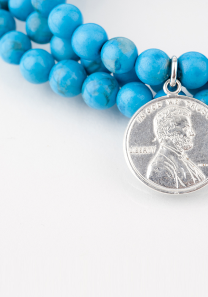 Turquoise Wrap with Sterling Silver Penny Charm