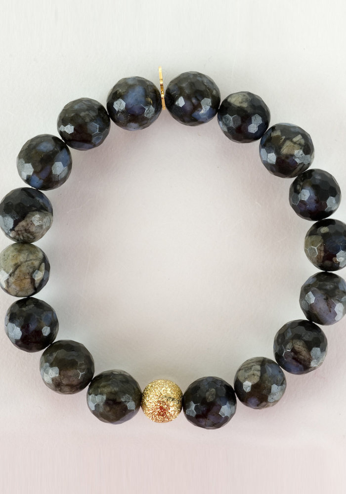 Faceted Agate with Gold Stardust