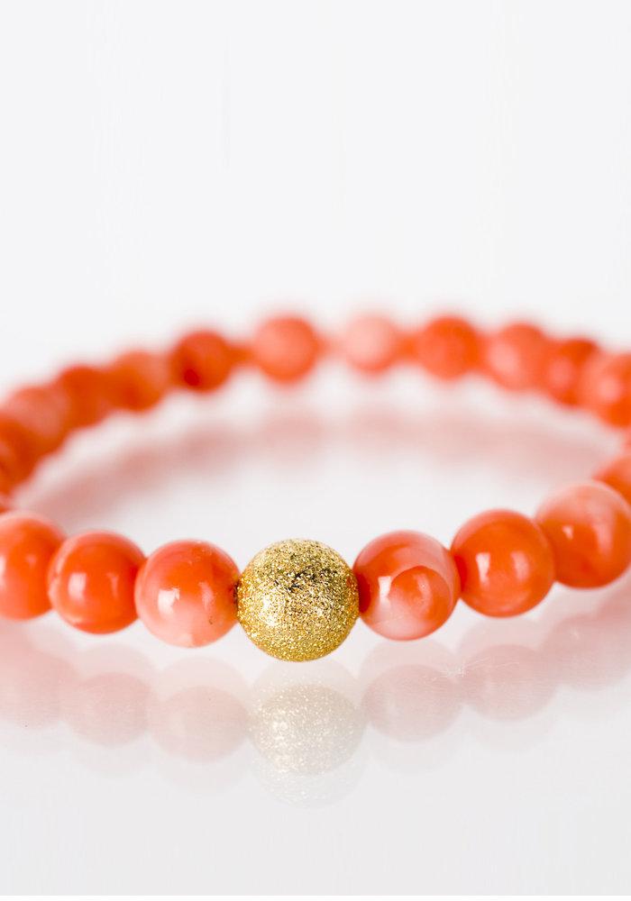 Mini Peachy Coral with Gold Stardust