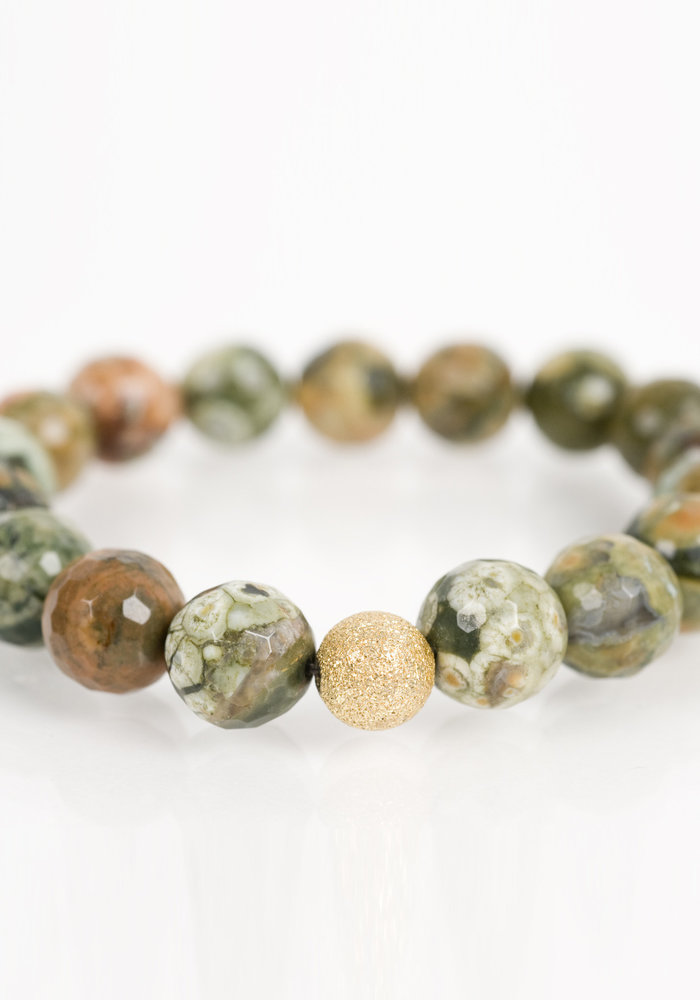 Moss Agate with Gold Stardust