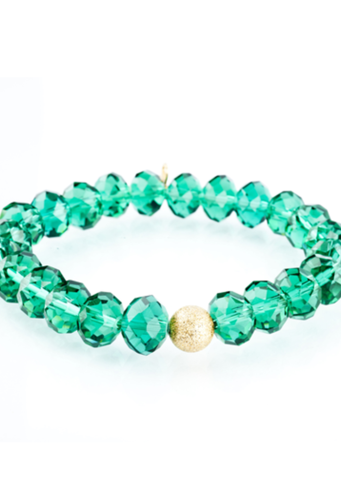 Green Glass with Gold Stardust