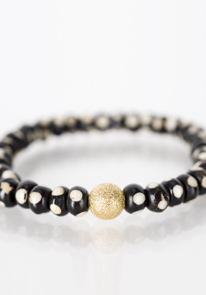 Mini Brown and White Bone with Gold Stardust