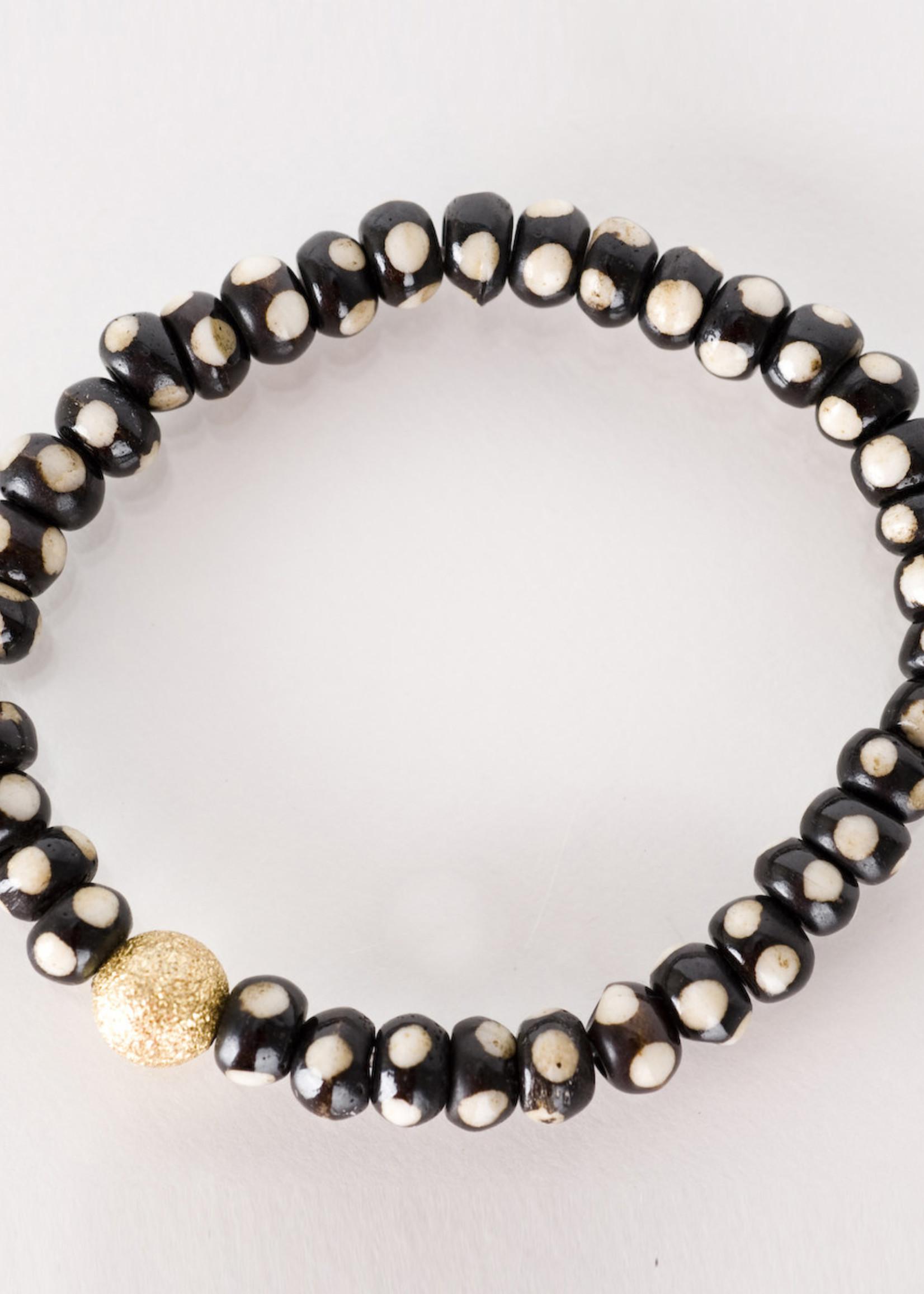 Mina Danielle Mini Brown and White Bone with Gold Stardust