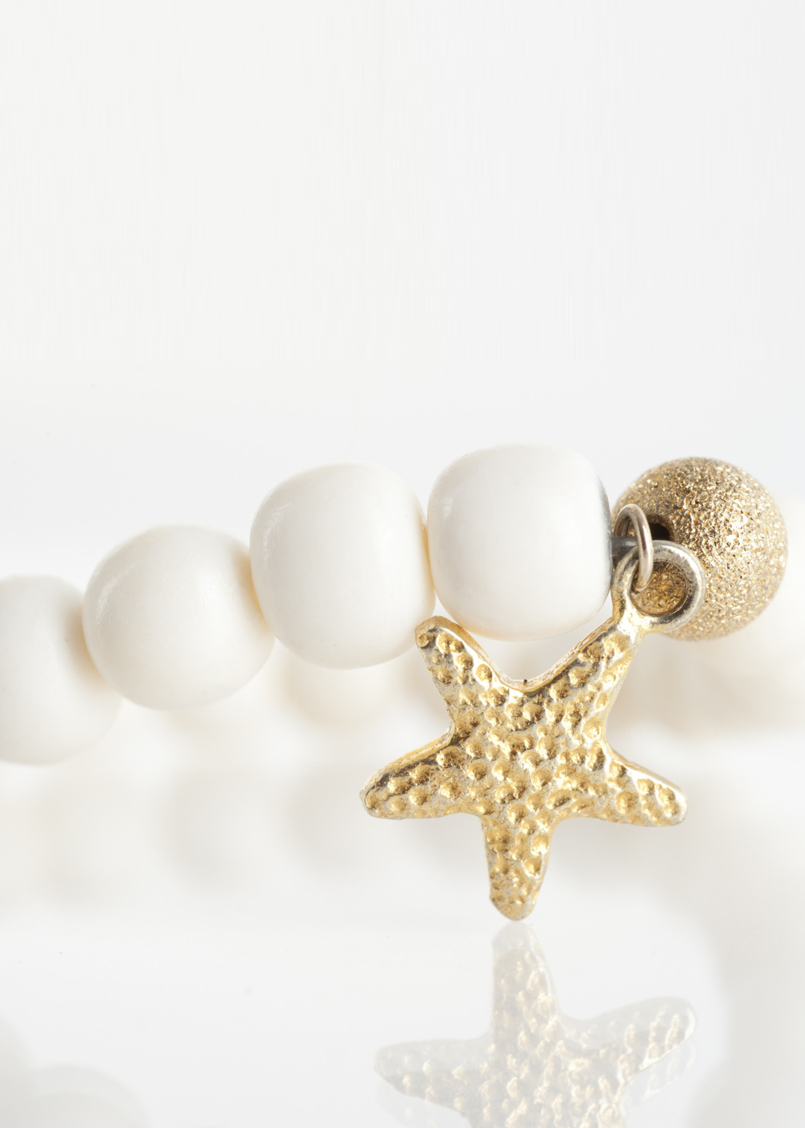 Mina Danielle White Bone with Gold Star Charm and Gold Stardust