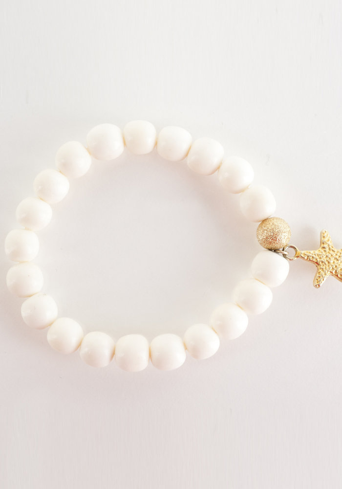 White Bone with Gold Star Charm and Gold Stardust