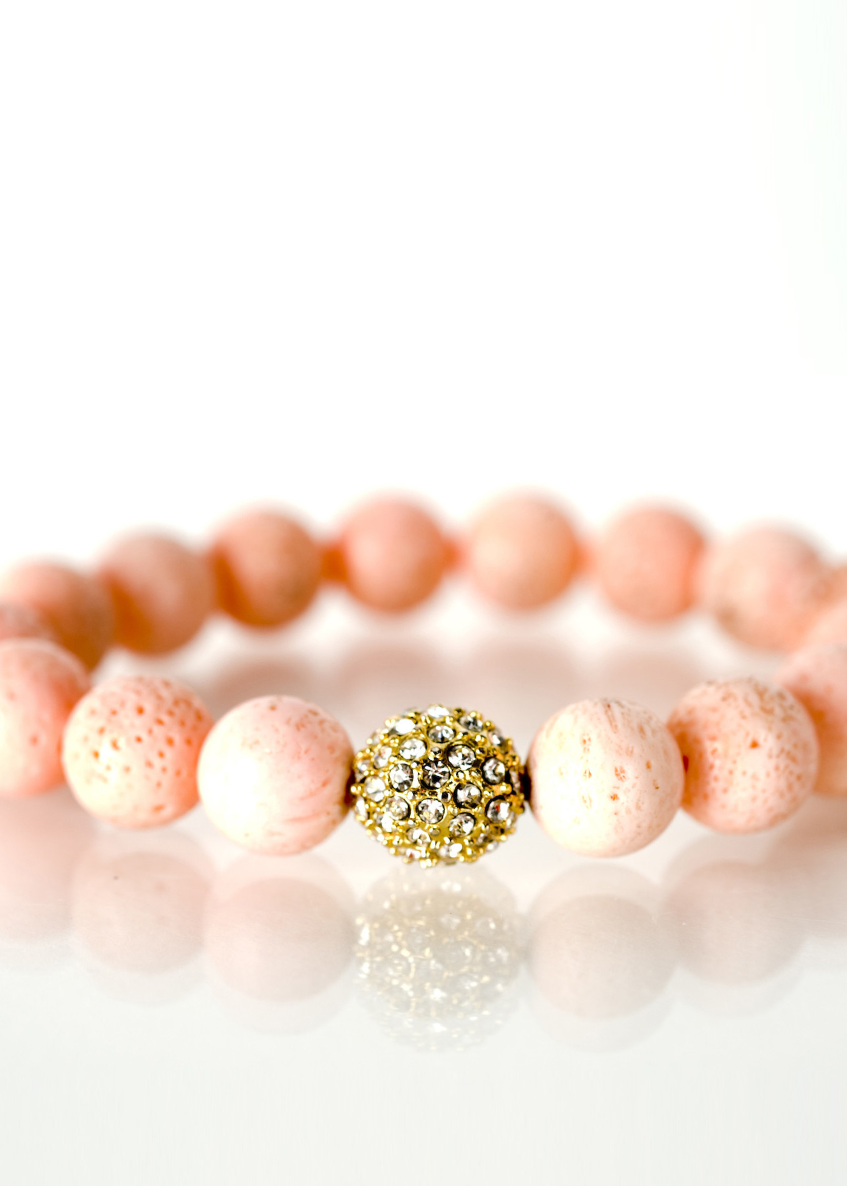 Mina Danielle Coral with Gold Pavé Crystal