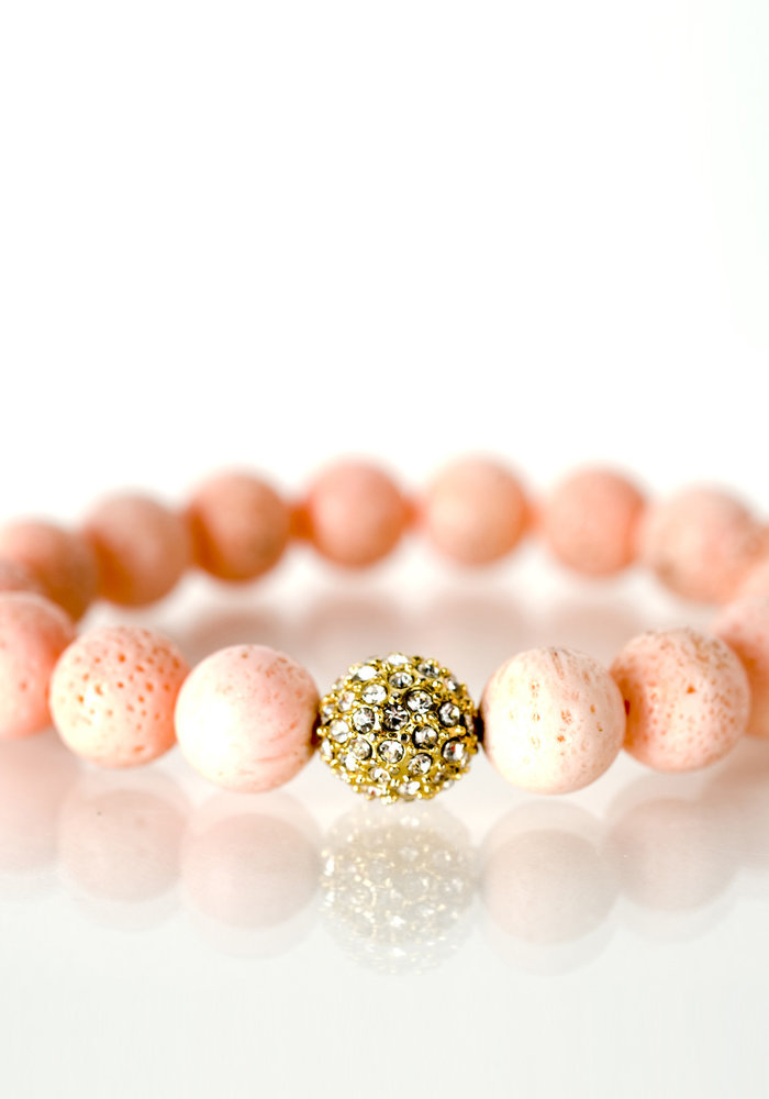 Coral with Gold Pavé Crystal