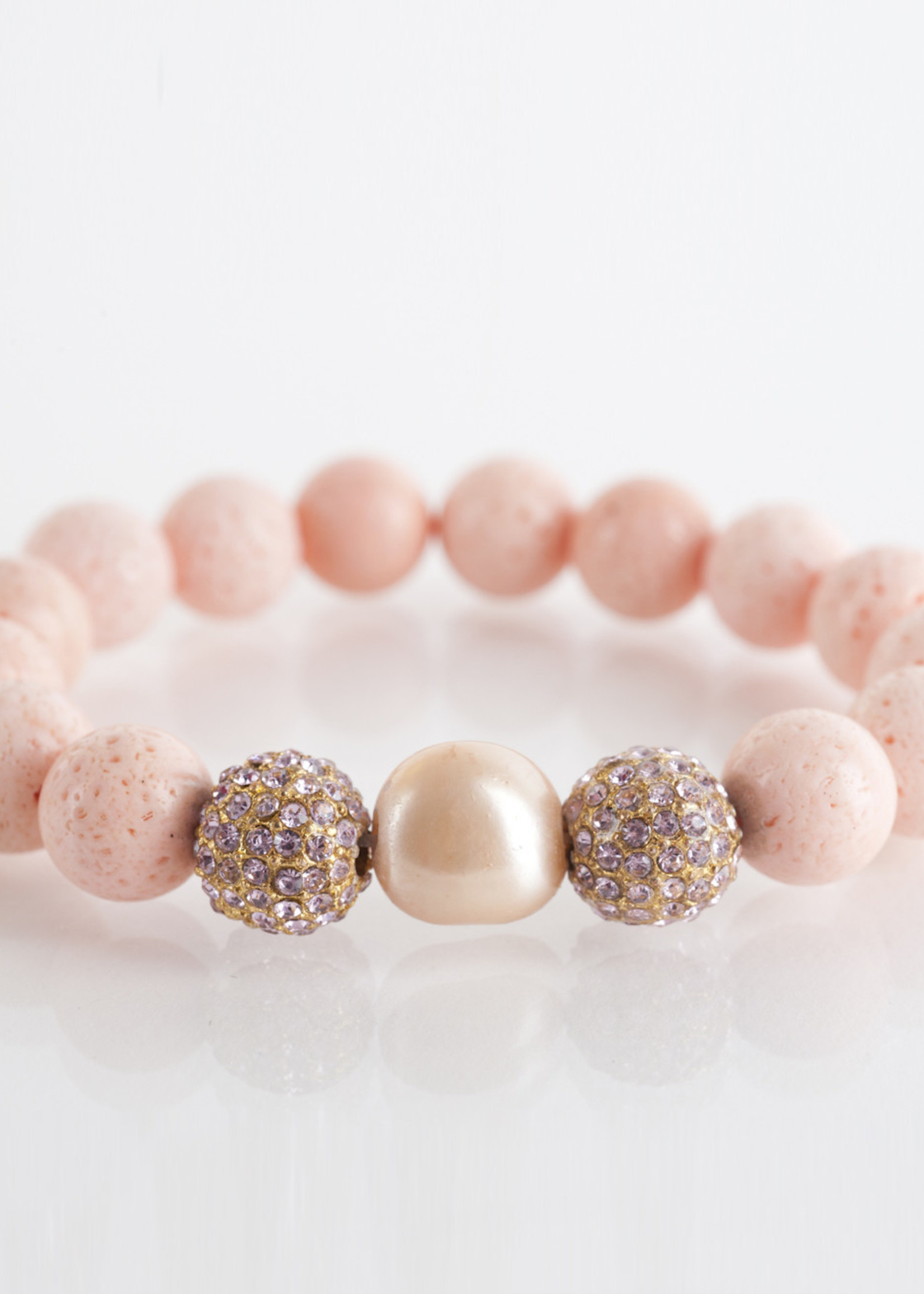 Mina Danielle Coral with Peach Pearl and Pavé Crystal Sphere's