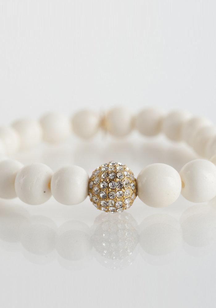 Bone with Gold Pavé Crystal