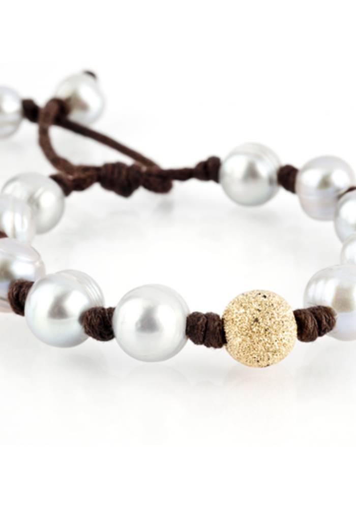 Gray Pearls with large gold stardust