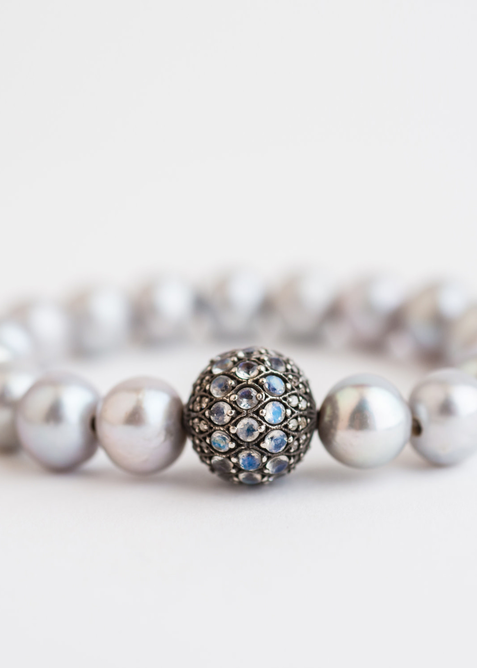 Mina Danielle Gray Pearl Stretch with Moonstone and Diamond bead
