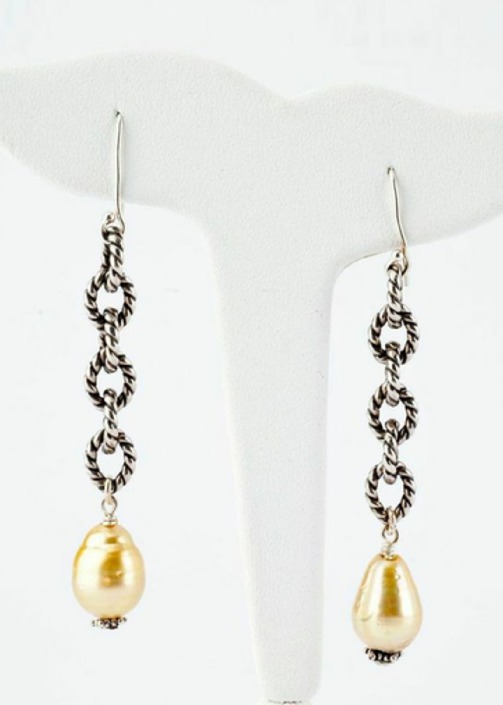 Mina Danielle Sterling Silver Link Chain with Hanging Yellow South Sea Pearls