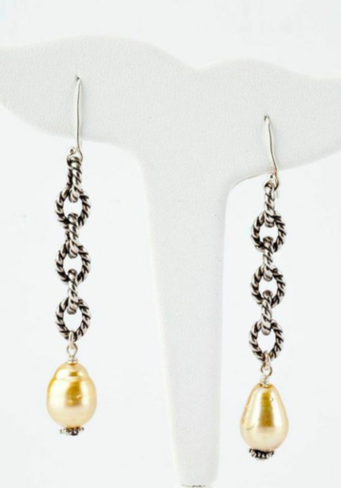 Sterling Silver Link Chain with Hanging Yellow South Sea Pearls