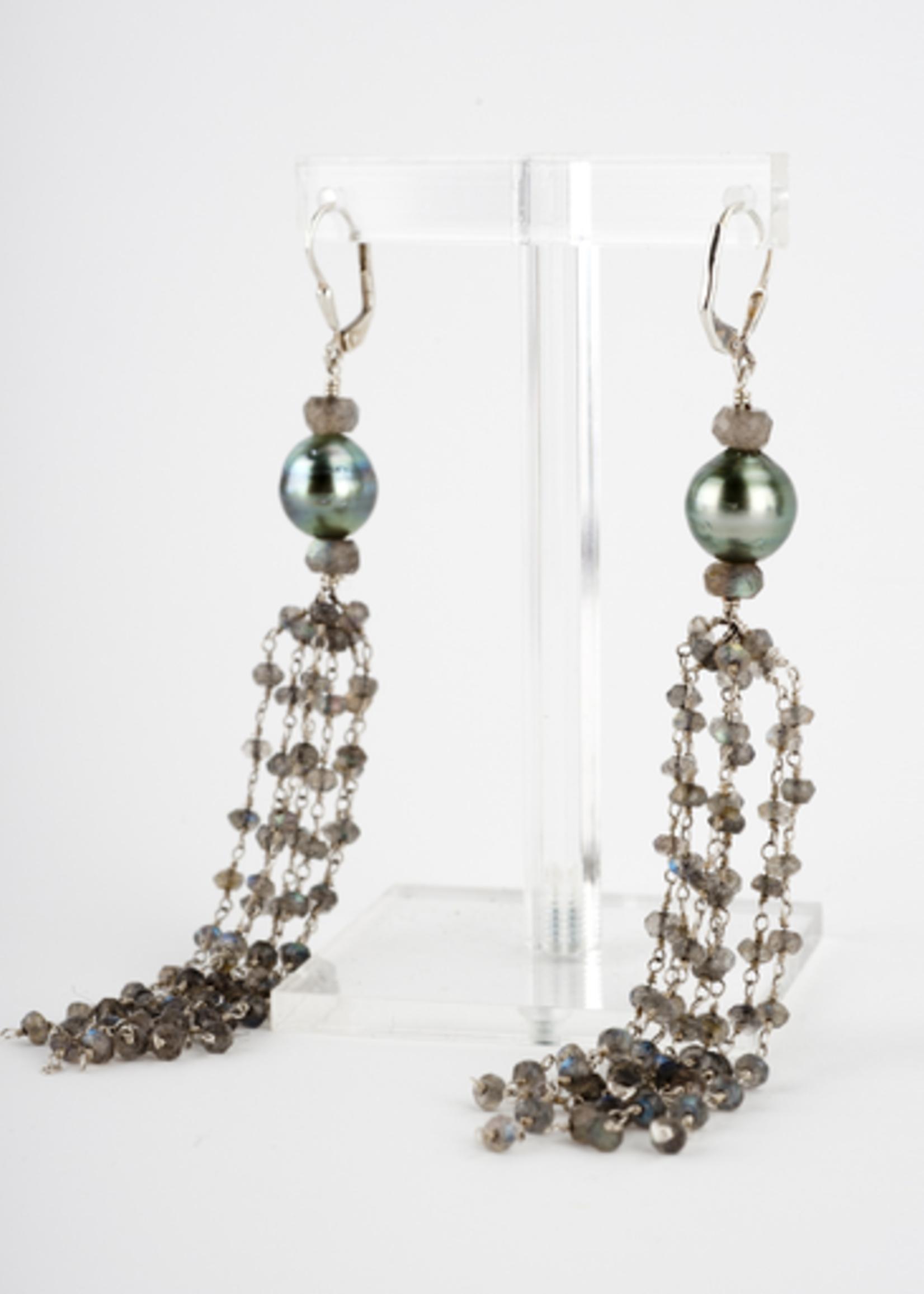 Mina Danielle Labradorite and Tahitian Pearl Tassel Earrings