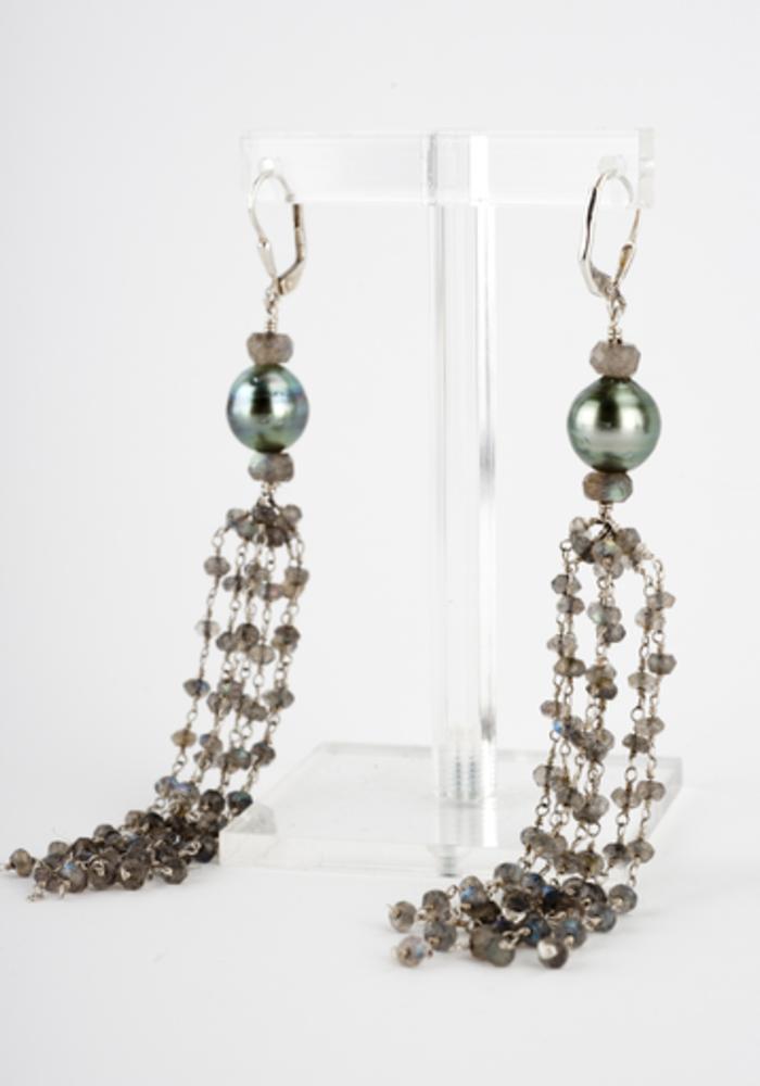 Labradorite and Tahitian Pearl Tassel Earrings