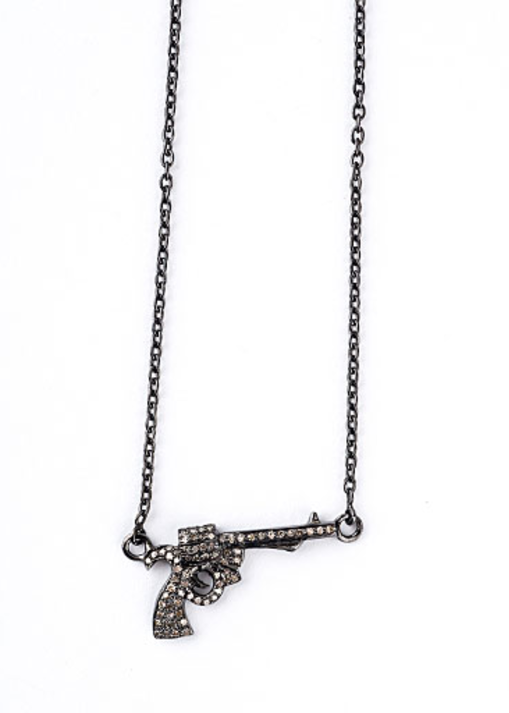 Mina Danielle Diamond Gun on Oxidized Chain