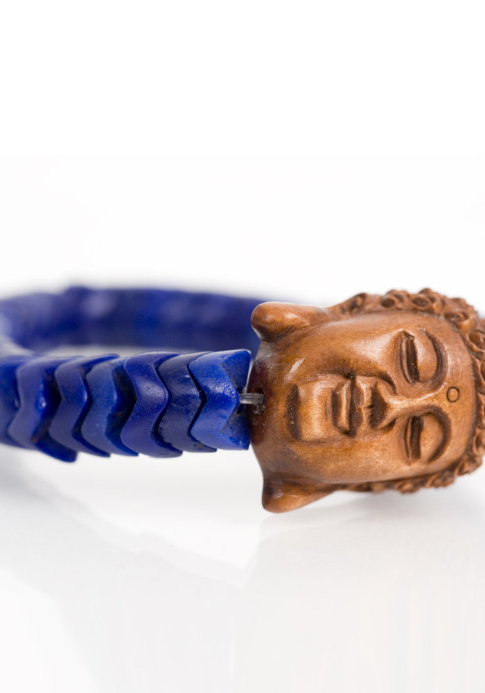 African Roundel Beads with Wooden Buddha