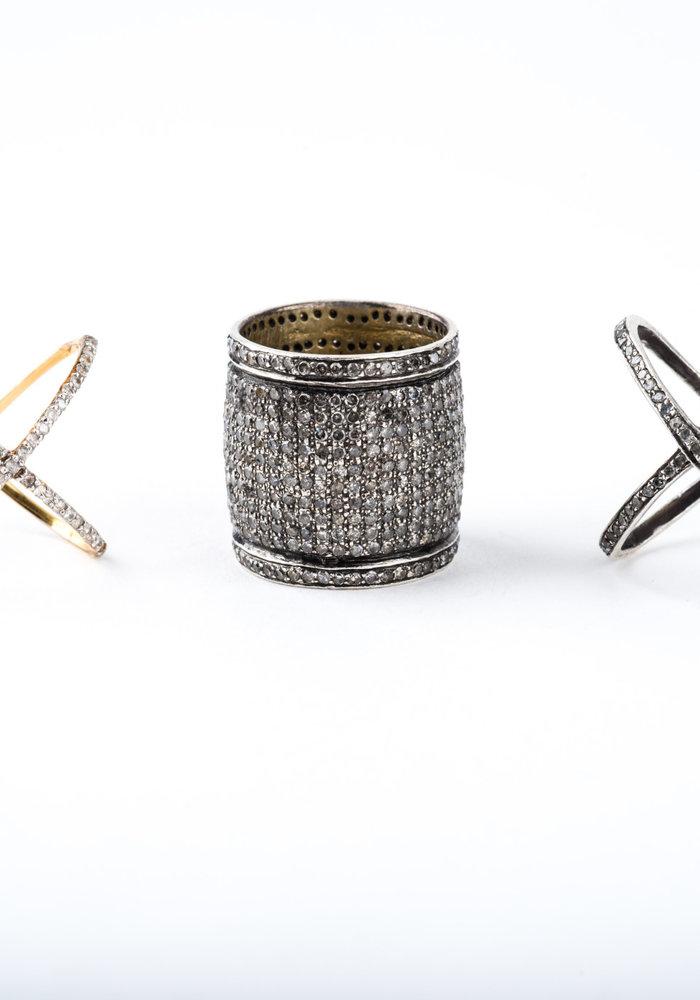 Pavé Diamond Cigar Band Ring