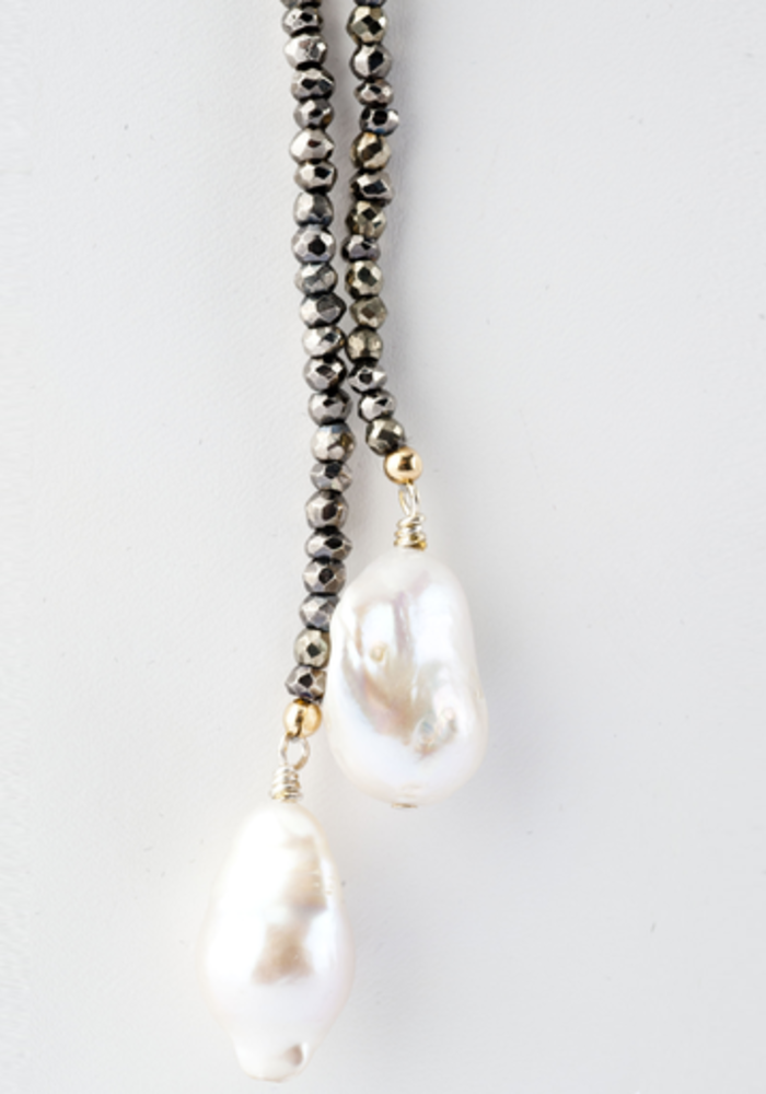 Pyrite Lariat with Hanging Baroque Pearls