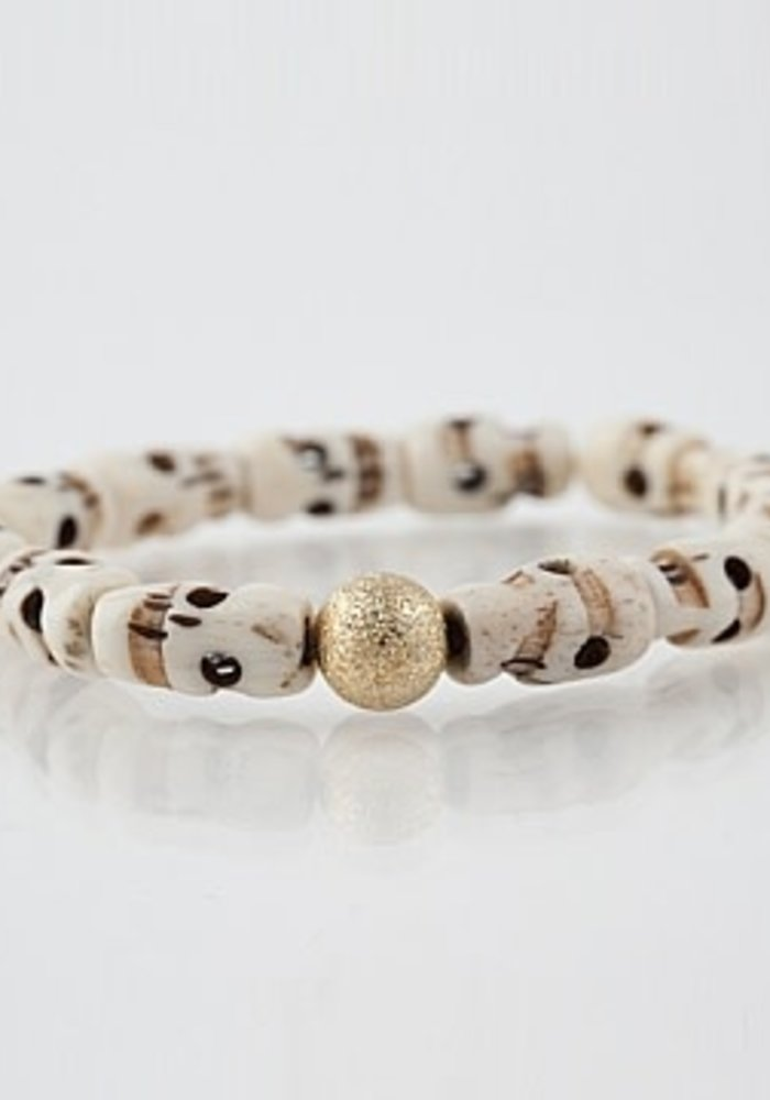 7mm Gold Stardust Bead on Ivory Skulls