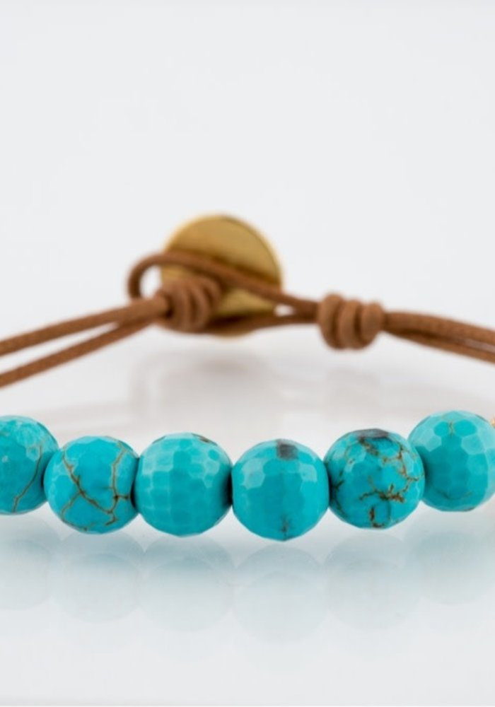Turquoise with 2 gold stardust and gold coin button closure