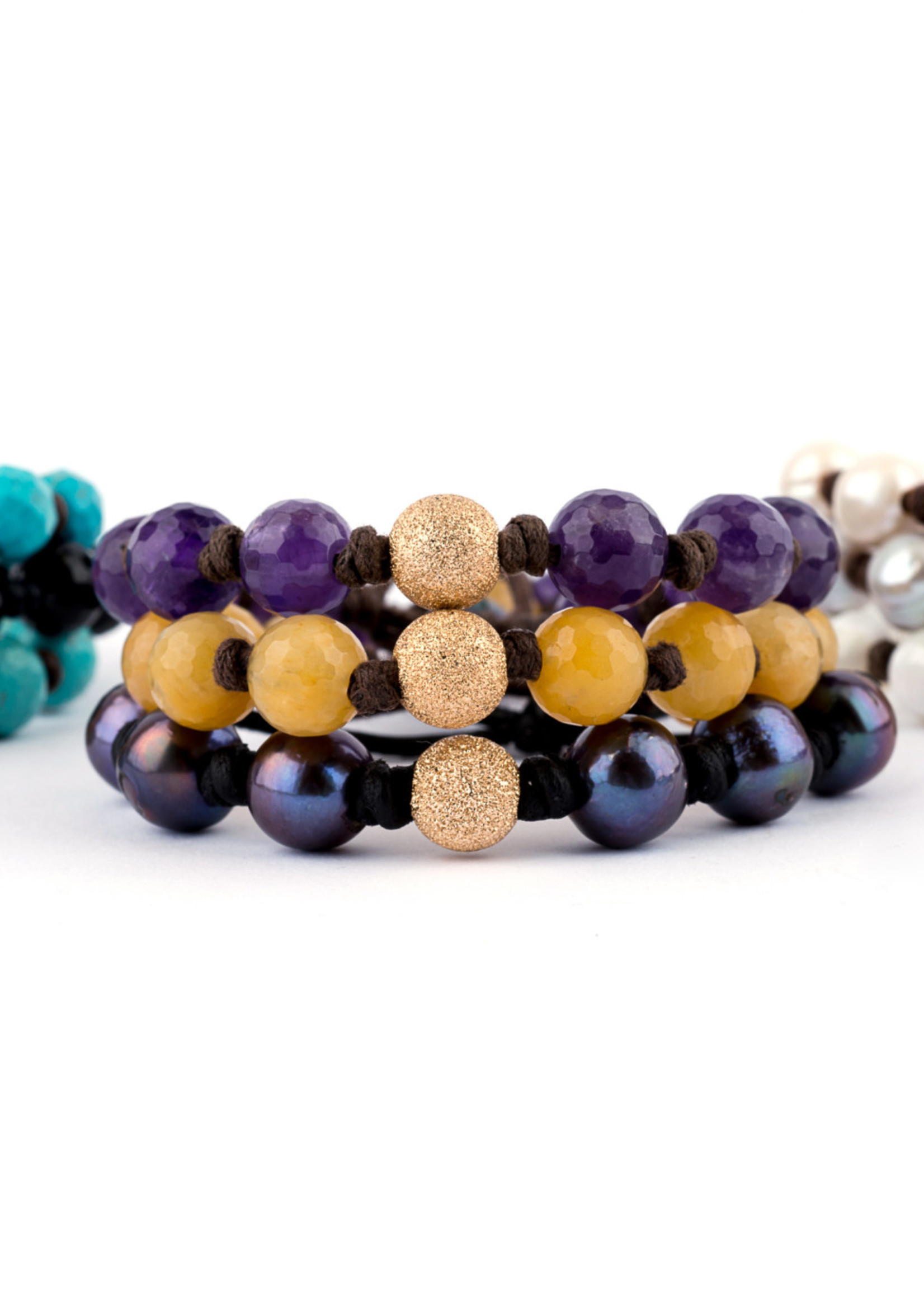 Mina Danielle Faceted Black Onyx with Gold Stardust