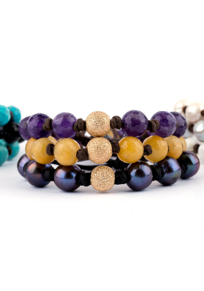 Faceted Black Onyx with Gold Stardust