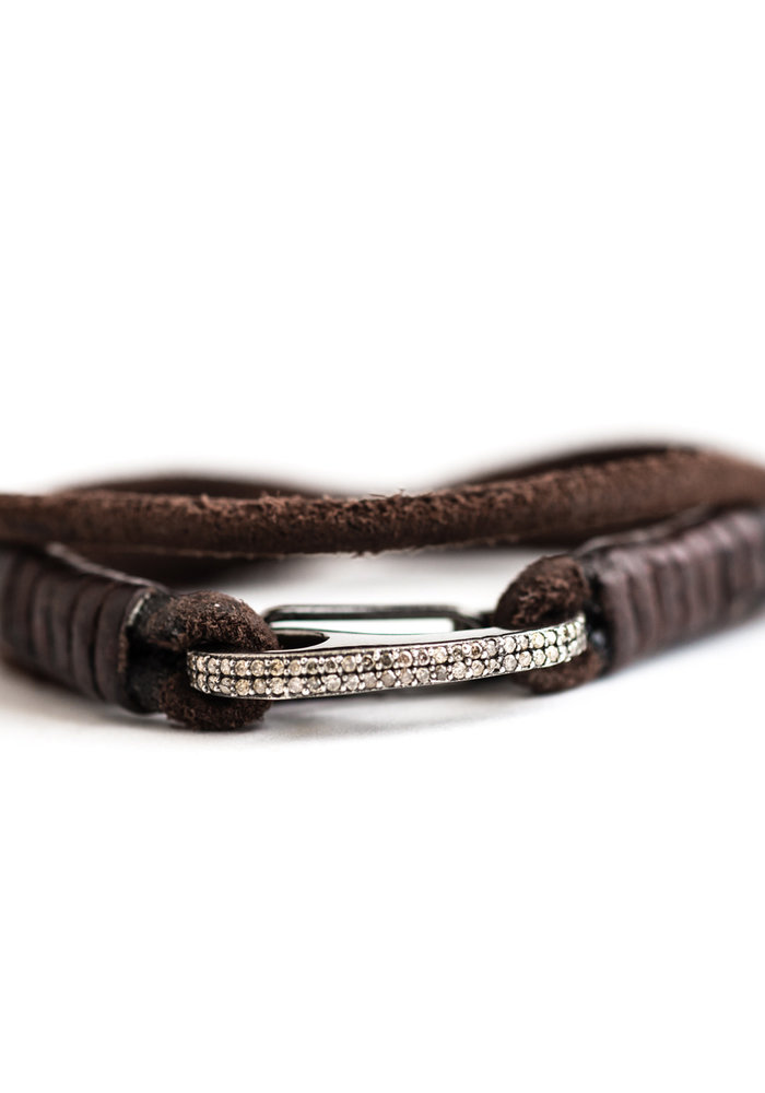 Chocolate Brown Leather Wrap with Diamond Bungee Clip